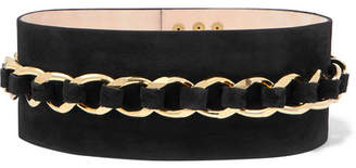 Balmain Chain-embellished Suede Waist Belt - Black