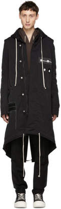 Rick Owens Black Patch Fishtail Parka