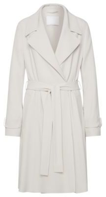 Hugo Boss Cafyna Crepe Satin Back Belted Trench Coat 4 Silver $895 thestylecure.com