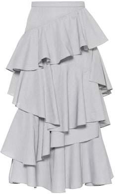 ALEXACHUNG Striped ruffle cotton midi skirt