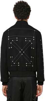 Off-White Off White Embroidered Wool Blend Bomber Jacket