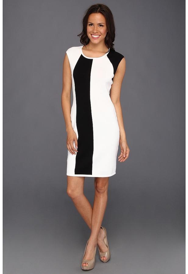 Calvin Klein Cap Sleeve Colorblock Knit Dress Women's Dress