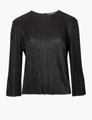 Limited Edition Textured Round Neck Long Sleeve Top