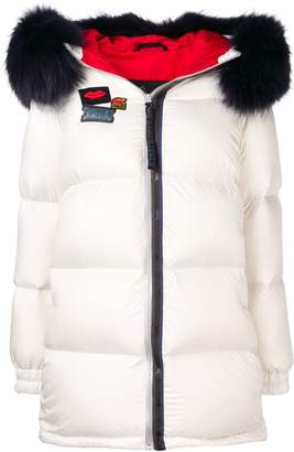 Mr & Mrs Italy patch embellished puffer jacket
