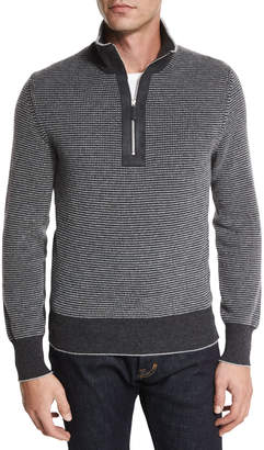 Tom Ford Cashmere Dot-Print Half-Zip Sweater, Gray