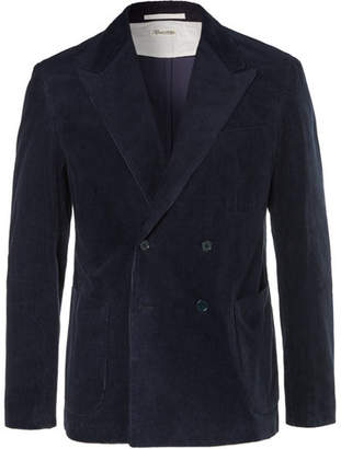 Camoshita Navy Slim-Fit Double-Breasted Cotton-Corduroy Blazer