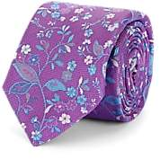 Barneys New York Men's Floral Silk Jacquard Necktie - Purple