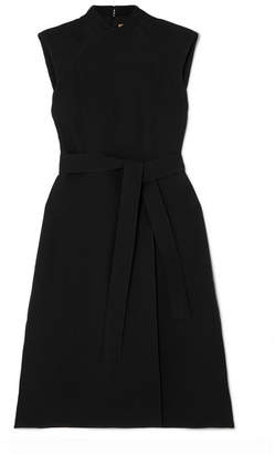 Burberry Belted Wool And Silk-blend Midi Dress - Black