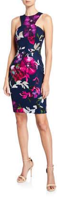 Trina Turk Delano Halter-Neck Faye Floral-Print Sheath Dress