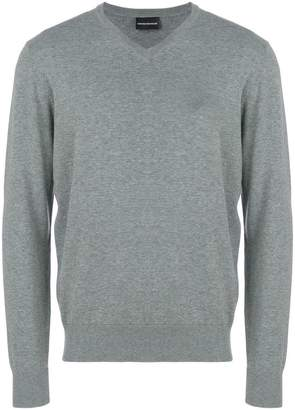 Emporio Armani v-neck logo sweater
