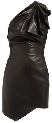 95a6d2ff Alexandre Vauthier One Shoulder Leather Mini Dress - Womens - Black