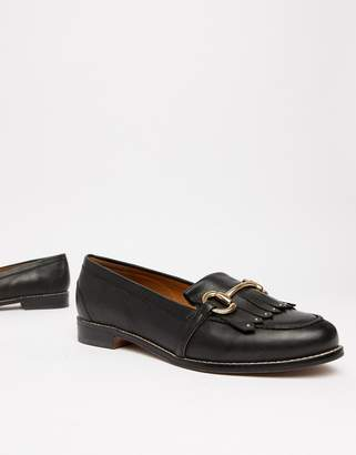 Office Fright black leather fringed loafers