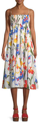 Tory Burch Painted Iris Floral-Print Sleeveless Midi Coverup Sun Dress