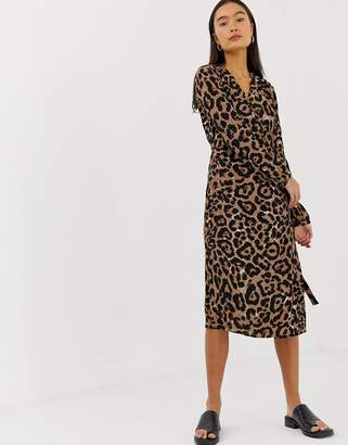 B.young leopard print wrap dress