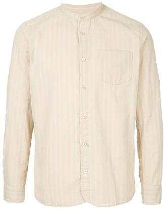 Kent & Curwen striped collarless shirt