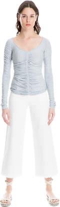 Max Studio frayed-hem wide-leg jeans