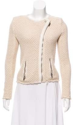IRO Leather-Trimmed Knit Moto Jacket