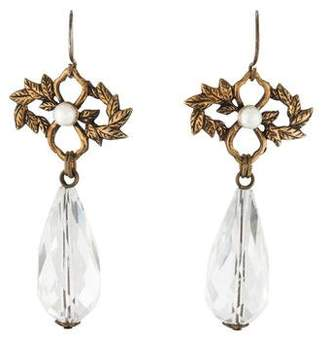 Stephen Dweck Crystal & Pearl Drop Earrings