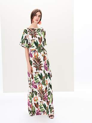 Oscar de la Renta Jungle Print Stretch-Silk Georgette Caftan
