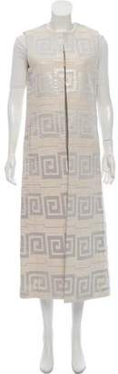 Tory Burch Metallic Accented Long-Line Vest