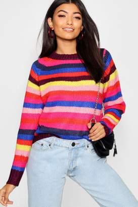 boohoo Rainbow Stripe Knitted Jumper