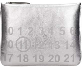 Maison Margiela Silver Metallic Leather Clutch Bag