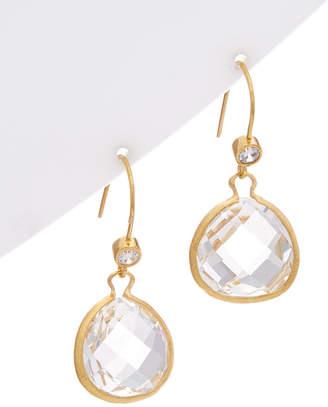 Rivka Friedman 18K Clad Quartz & Simulated Diamond Earrings