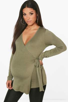 boohoo Maternity Gabby Long Sleeve Wrap Top