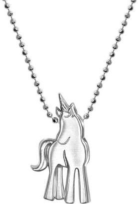 "Alex Woo Silver Princess Unicorn Necklace, 16"""