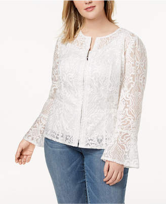 INC International Concepts I.N.C. Plus Size Lace Illusion Jacket, Created for Macy's