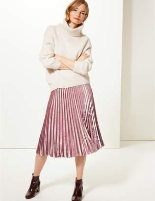 Marks and Spencer Velvet Pleated Midi Skirt