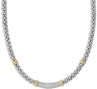 Lagos 18K Gold & Sterling Silver Diamond Lux Single Station Necklace, 16""