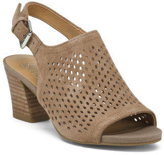 Leather Peep Toe Perforated Block Heel Sandals