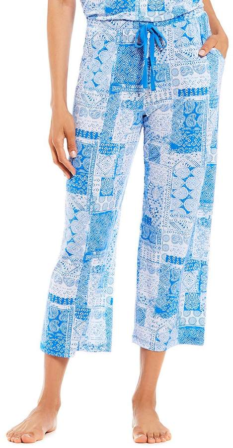 Nottibianche Paisley Mixed Print Knit Cropped Sleep Pants