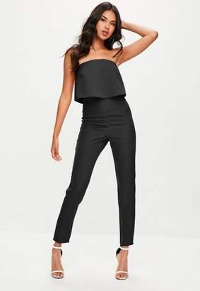 Missguided Petite Black Bandeau Overlay Jumpsuit, Black