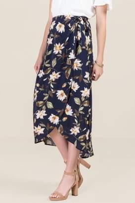 francesca's Madeline Floral Wrap Skirt - Navy