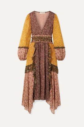 Ulla Johnson Primrose Ruffled Printed Fil Coupé Silk-blend Chiffon Dress