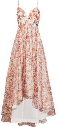 Badgley Mischka Embellished Floral-Print Silk-Chiffon Gown