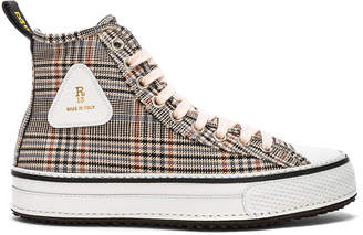 R 13 Plaid Twill Hi-Top Sneakers