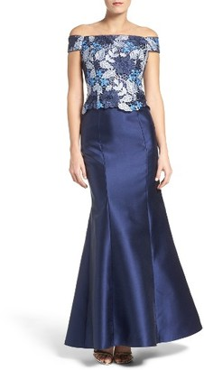 Women's Adrianna Papell Guipure Lace & Mikado Gown $249 thestylecure.com