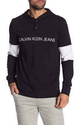Calvin Klein Sleeve Blocking Logo Snap Button Hoodie