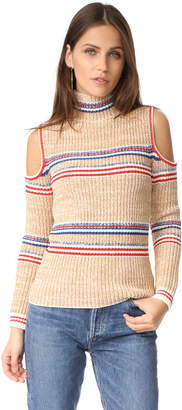Whistles Stripe Chunky Knit Cold Shoulder Sweater $389 thestylecure.com