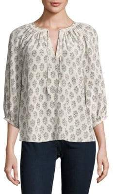 Rebecca Taylor Floral Splitneck Silk Top