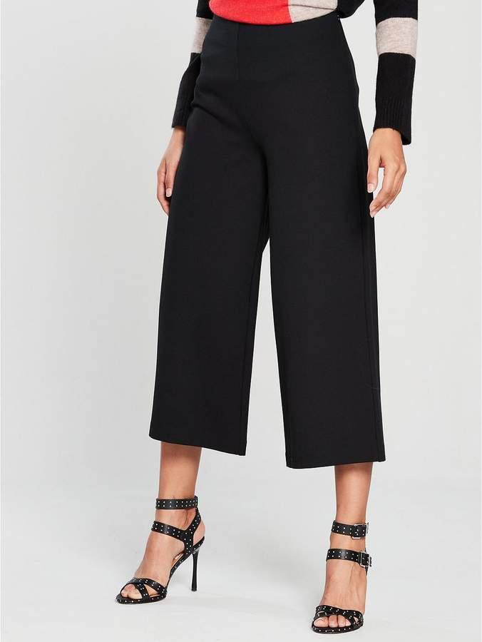 Ponte Crop Wide Leg Trouser - Black
