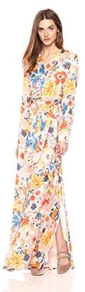 BEIGE Daisy Drive Women's Long Flowy Floral Print Long Sleeve Dress