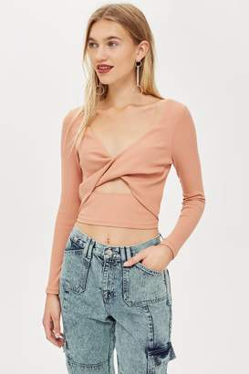 Topshop Womens Twist Front Ribbed Top - Nude