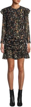 Veronica Beard Parc Ruched Floral Ruffle Short Dress
