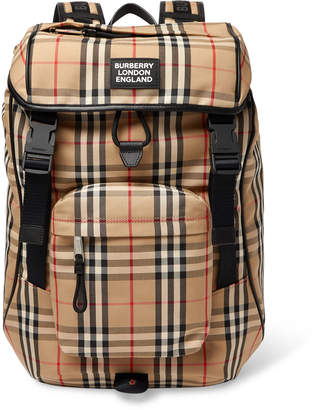 Burberry Logo-Appliqued Checked Canvas Backpack - Men - Brown