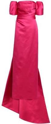 Monique Lhuillier Off-the-shoulder Layered Duchesse-satin Gown