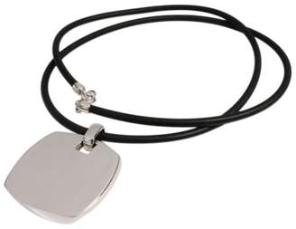 Tiffany & Co. Gehry Large Tag Torque Silver Rubber Cord Pendant